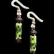 SALE Mod Czech Art Glass Earrings, RARE 1960's Olivine Czech Beads