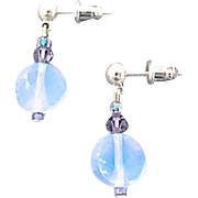 SALE Gorgeous Aquamarine German Art Glass Earrings, RARE 1950's West Germany Opalescent Beads