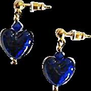 SALE Gorgeous Venetian Art Glass Earrings, Cobalt Blue 24K Gold Foil Murano Glass Hearts
