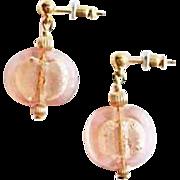 SALE Stunning Pink Venetian Art Glass Earrings, 24K White Gold Foil Murano Glass Lentil Beads