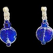 SALE Gorgeous Czech Art Glass Earrings, RARE 1960's Czech Glass Beads