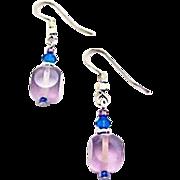 SALE Gorgeous Amethyst Czech Art Glass Earrings, RARE 1950's Czech Satin Glass Beads