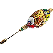 SALE Dazzling 24K Gold Foil Venetian Art Glass Stick Pin, Murano Lampwork Bead, Hat Pin