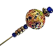 SALE Gorgeous 24K Gold Foil Venetian Art Glass Stick Pin, Murano Lampwork Bead, Hat Pin