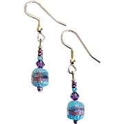 SALE Exquisite Czech Art Glass Earrings, RARE 1940's Czech Glass Beads