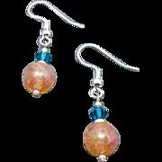 SALE Fabulous German Art Glass Earrings, RARE 1960's German Crackle Glass Beads, Pink & Coral