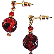 SALE Gorgeous Red Venetian Art Glass Earrings, RARE 1920's Venetian 24K Gold Foil Beads