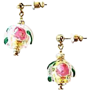SALE Gorgeous Venetian Fiorato Art Glass Earrings, 24K Gold Foil Murano Glass Beads, Rose Foil
