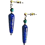 SALE Stunning German Lapis Glass Earrings, RARE 1930's German Lapis Glass Beads