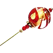 SALE Stunning Venetian Art Glass Stick Pin, Murano Glass Bead, 24K Gold Foil, Red Swirl, Hat P