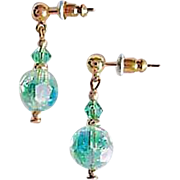 SALE Stunning Green Austrian Crystal Glass Earrings, RARE 1940's Austrian Crystal Beads