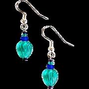 SALE Gorgeous Teal Venetian Glass Earrings, RARE 1930's Venetian Art Deco Beads