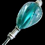SALE Gorgeous Czech Art Glass Stick Pin, Teal Vintage Czech Glass Bead
