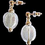 SALE Gorgeous Venetian Art Glass Earrings, 24K White Gold Foil Murano Glass Beads