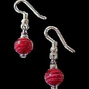 SALE Gorgeous Venetian Art Glass Earrings, Rare 1940's Magenta Pink Venetian Beads
