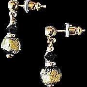 SALE Stunning Venetian Art Glass Earrings, Black & 24K Gold Foil Murano Glass