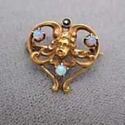 SOLD Elegant Antique Art Nouveau Gold Cherub Heart Brooch -  Gorgeous Opals and Sapphire
