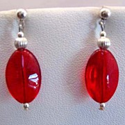 SOLD Gorgeous Red German Art Glass Earrings, RARE 1940's German Glass Beads