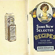 SOLD RARE 1930's Baker Extract Cookbook, Advertising, Lithograph Illustrations, Chocolate