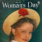 April 1949 Woman's Day Magazine, Advertising, Dress Fashion, Pie Recipes, Vintage