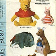 SOLD 1965 McCall's #8087 Winnie-The-Pooh Printed Pattern - Stuffed Toy  /  SCARCE /  Disney