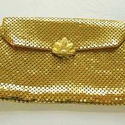 SOLD DESIGNER 1940's Whiting & Davis Evening Bag - Rhinestone Clasp / Gold Mesh / SCARCE / Vin