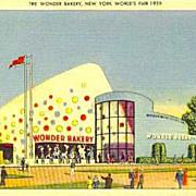 SOLD RARE 1939 New York World Fair 'The Wonder Bakery' Postcard - Advertising / Unused / Hoste