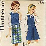 SOLD 1950's Butterick # 2825 Sub-Teens Skirt & Blouse, Size 12 - Bust 30 / UNCUT /  Vintage /