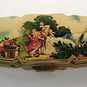 SOLD Vintage Stratton Goldtone Pill Box 'Signed'  Made in England - Romance Scene, Cherub, Cup