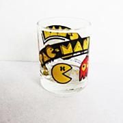 SOLD 1982 PAC-MAN Shot Glass, Vintage Arcade Game Bally Midway, Collector Novelty