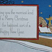 1920's Merry Christmas & New Year Postcard, Unused Vintage - Embossed, Gold Decoration, ...