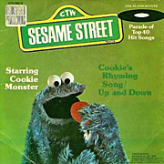 "1976 Sesame Street Cookie Monster 7"" 45 Vinyl Record, Cookie's Rhyming Song, Muppets Chil"