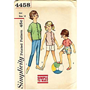 1950's Simplicity #4458 Girls' Shirt & Pant, Size 12, UNCUT, Retro, Vintage Printed Pattern, C