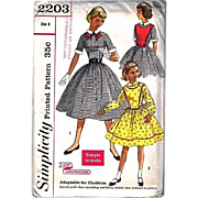 1950's Simplicity #2203 Girls' Dress, Size 8, Bust 26, UNCUT, Retro, Vintage Printed Pattern .