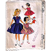 1957 McCall's #4346 Girls' Dress, Size 8, UNCUT, Retro, Vintage Printed Pattern, Easy To Sew,