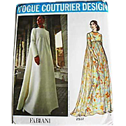 1970's FABIANI Vogue Couturier Design Pattern 2537, Misses' Empire Waist Evening Gown-Two ...