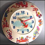 SOLD SCARCE 'Wee Winkie' 1960's Westclox Circus Wall Clock - Children / Model #313-W / Vintage