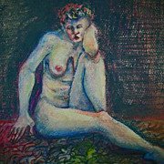 Stunning Nude Original Mixed Media Painting, Signed - Artist Judith Jaffe, Nude Woman