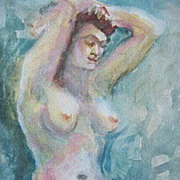 SALE Stunning Nude Original Watercolor Painting, Signed - Artist Judith Jaffe, Nude Woman