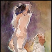 SOLD GORGEOUS Original Nude Watercolor Painting - The Couple
