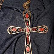 Filigree HOBE Cross w/Enamel Inlays & Garnet Rhinestones