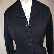 1940's Navy Blue Wool Gabardine Jacket  S/M