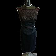 Black Lace and Faille Cocktail Dress sz S