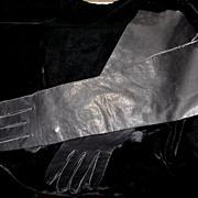 "Black Leather 15"" Gloves 7 1/2"