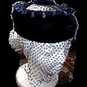 1960's Blue Velvet Pillbox Hat
