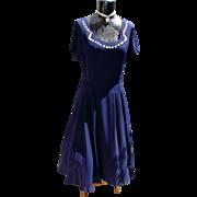 1950's Navy Blue Swing Dress w/Circle Skirt