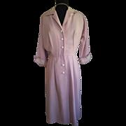 1950's Pink Cotton Dress w/Angora Trim M/L