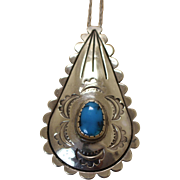 Vintage Silver Turquoise Pendant Native American