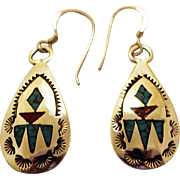 SOLD Vintage Navajo Silver Earrings Wilson and Carolyn Begay