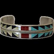 Vintage Zuni Silver Bracelet Inlaid Andrew Dewa